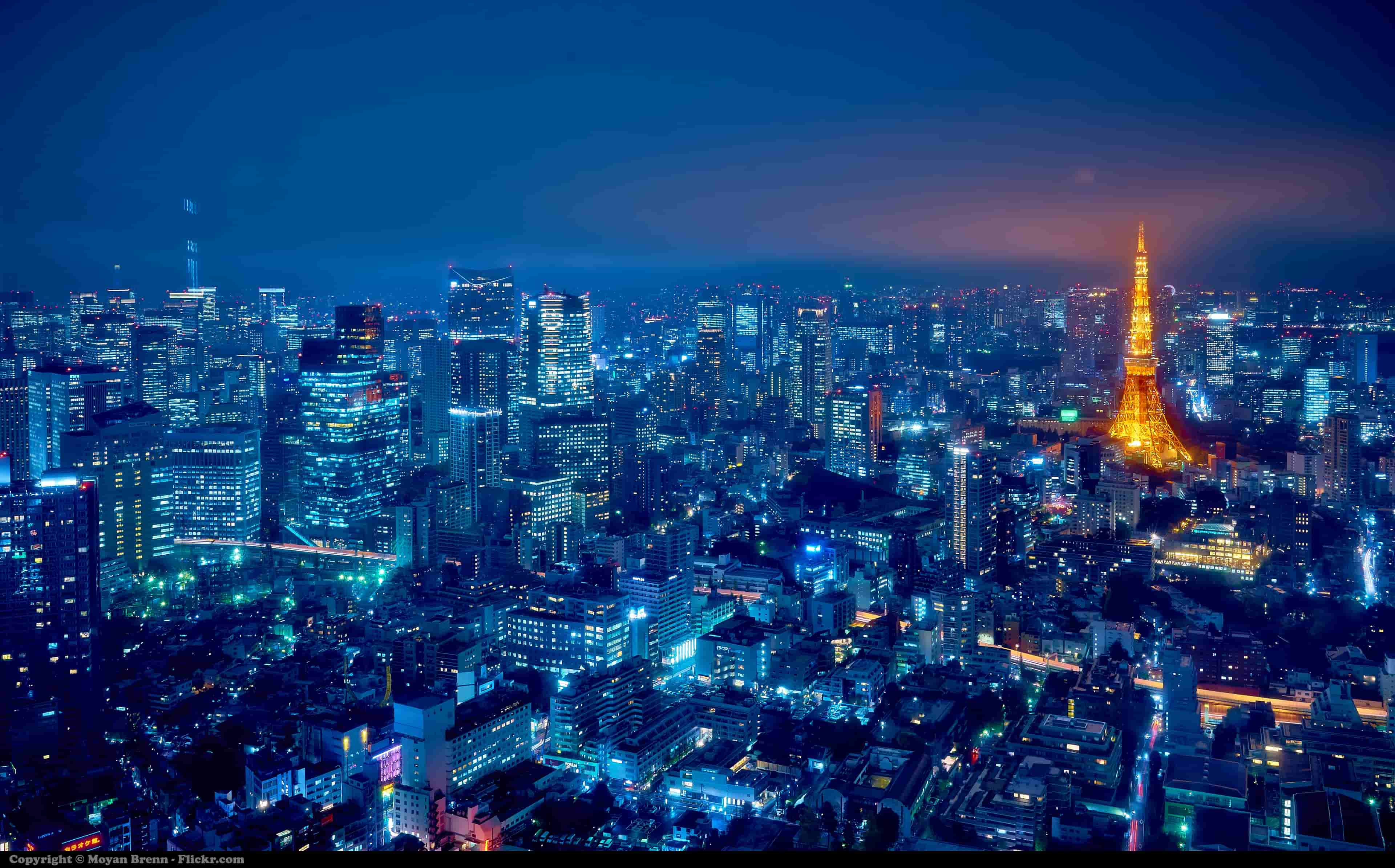 Shining Tokyo Tower by night in Japan